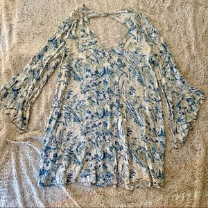 Lush White and Blue Dress